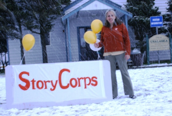 Kristine setting up for the StoryCorps Kick-off.
