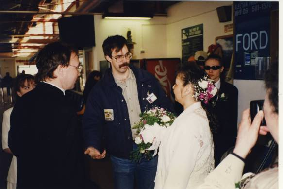 Pilot Burke Mees telling me that we can do a fast quick ceremony at 2 PM, or he can do the Akutan run first, then we can take our time getting married!