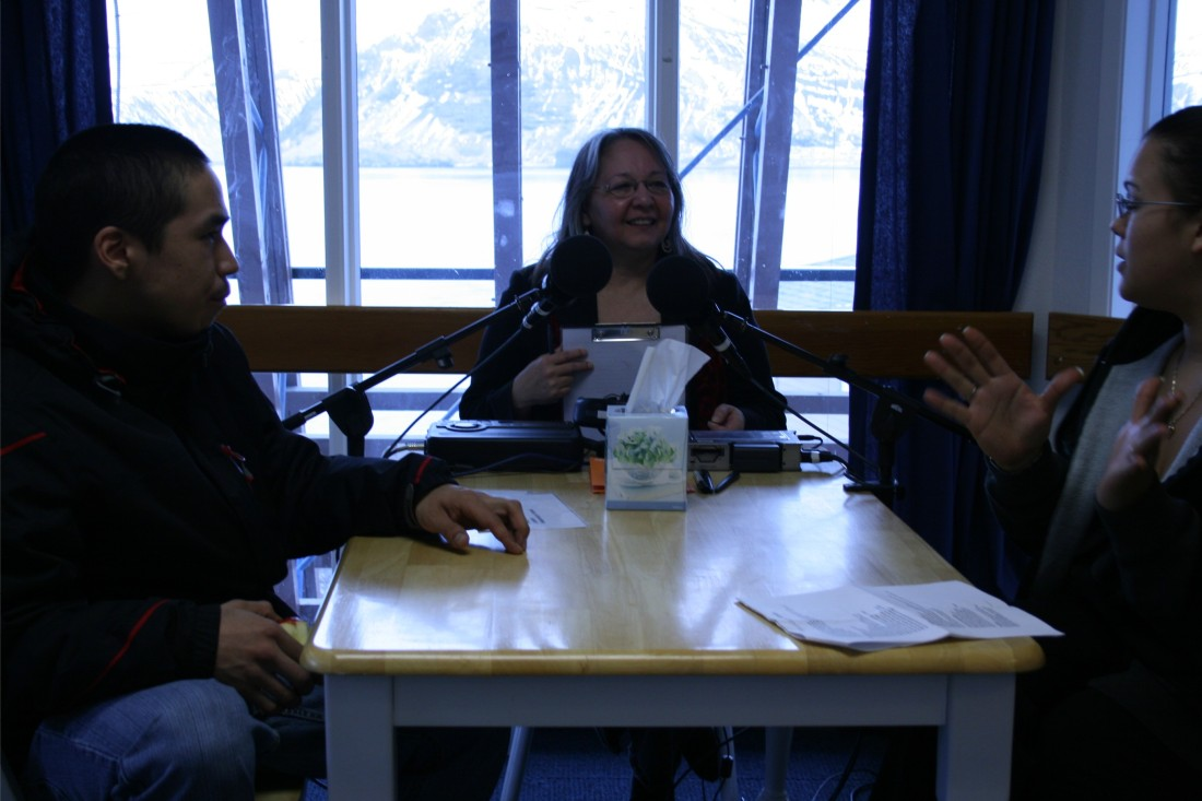 April and Demetri with me during their StoryCorps conversation.
