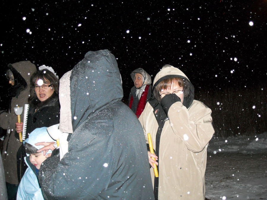 It was snowing and quite chilly.