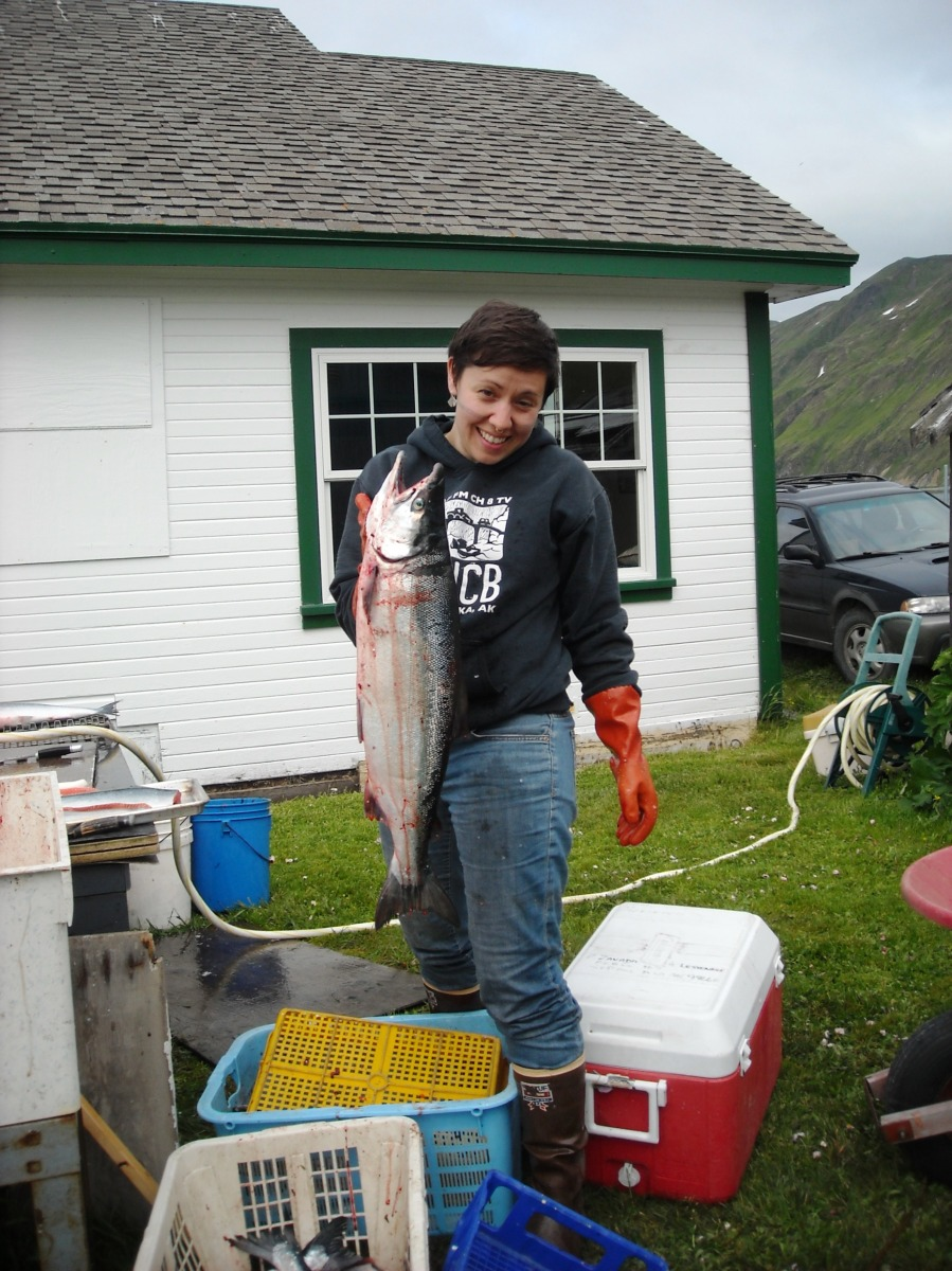 Getting ready to fillet a red salmon.